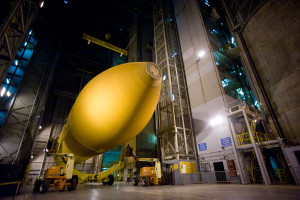 A space shuttle external tank  inside the Vehicle Assembly Building at the Michoud Assembly Facility in New Orleans. Credit: NASA/MAF/Steven Seipel