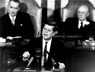 U.S. President John F. Kennedy speaking before Congress