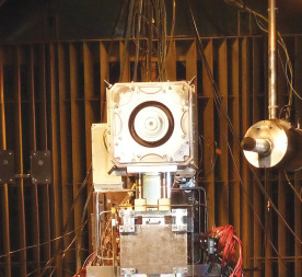 Preliminary results from testing at the Aerospace Corp. confirmed that Busek's Hall effect thruster, which generates force by accelerating ionized gas through electrostatic and magnetic fields, is the best performing thruster in its power class. Credit: Aerospace Corp.