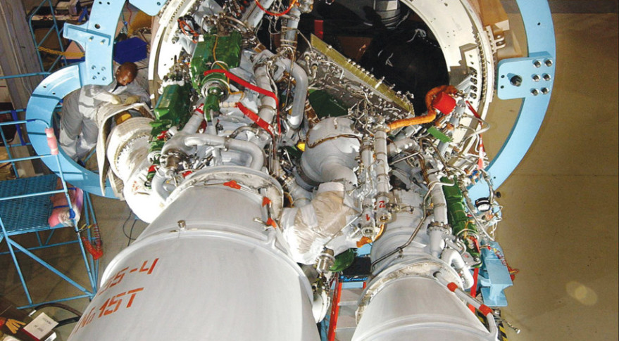The RD-180 engine powers ULA's workhorse Atlas 5 rocket.  Credit: NASA