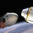 SpaceX Dragon 2 (left) and Boeing CST-100 capsules. Credit: SpaceX artist's concept and Boeing