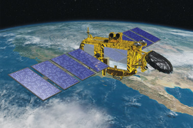 Jason-3 will be designed to provide its radar instrument with a stability to within one micron over its 5-meter length to assure high-precision data on water surface levels. It has two solar arrays designed to deliver 2 kilowatts of power to the payload, with a data-transmission speed of 360 megabits per second — compared to 830 kilobits per second for Jason-3. Credit: Jet Propulsion Laboratory