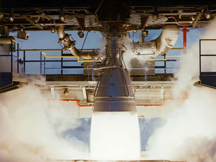 AJ-26 rocket engine being test fired. Credit: Aerojet Rocketdyne