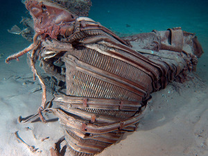 The Apollo 12 mission's F1 engine before Bezos rescued it from the sea floor.