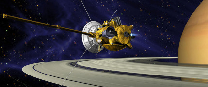 An illustration of NASA's Cassini spacecraft flying by Saturn. Credit: NASA/JPL-Caltech