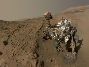 NASA's Mars Curiosity rover uses its mast cam to take a selfie.