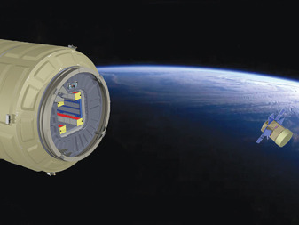 The payload carrier, called HatchBasket, is designed to fit in the hatchway of Orbital Sciences Corp.'s enhanced Cygnus module and take advantage of fuel remaining in the cargo ship to boost the capsule to an altitude of approximately 500 kilometers where HatchBasket would expel its complement of satellites. Credit: Atlius