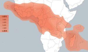 Map of Eutelsat 16A's Ku-band Africa uplink coverage. Credit: Eutelsat