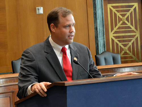 U.S. Rep. Jim Bridenstine (R-Okla.), above, is planning a broad space reform bill that would change how the Defense Department and NASA approach space acquisitions and operations. | Credit: Oklahoma State Chamber of Commerce.