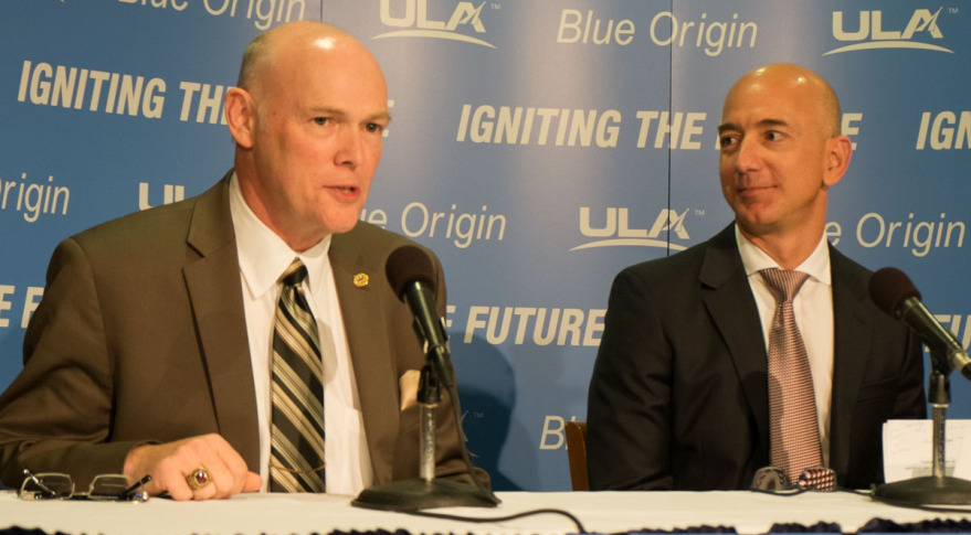 ULA CEO Tory Bruno and Blue Origin founder Jeff Bezos announcing engine partnership at National Press Club in September 2014. Credit: SpaceNews/Brian Berger