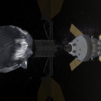 This conceptual image shows NASA's Orion spacecraft approaching the robotic asteroid capture vehicle. The trip from Earth to the captured asteroid will take Orion and its two-person crew an estimated nine days.