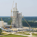 NASA's A-3 test stand shown while still under construction at Stennis Space Center in Mississippi. Credit: NASA