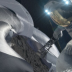 An astronaut retrieving a sample from captured asteroid. Credit: NASA illustration