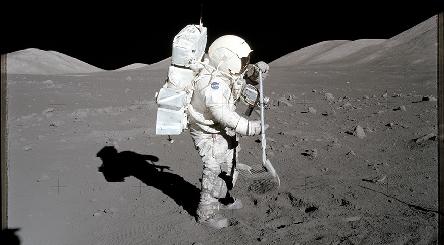 Astronaut Harrison Schmitt collects lunar rake samples during the Apollo 17 mission. Credit: NASA