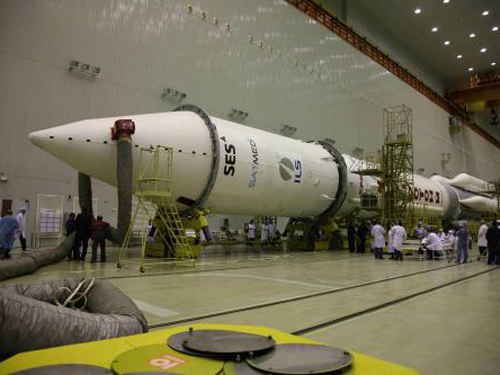 SES's Astra 2G mounted to a Proton rocket. Credit: International Launch Services