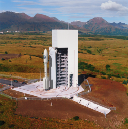 Rendering of Athena 2S rocket on the pad at Kodiak Launch Complex. Credit: Alaska Aerospace Corp.
