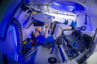 Interior of a prototype of Boeing's CST-100, which won NASA's CCtCap award. Credit: Boeing