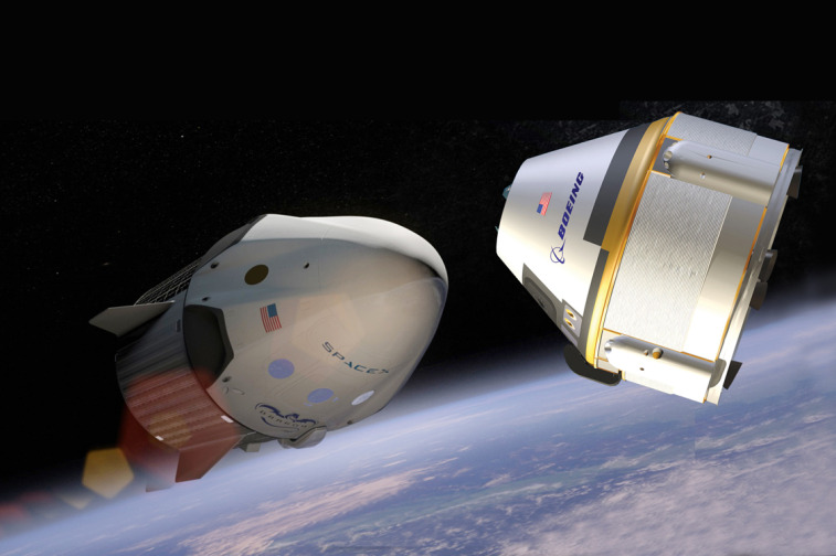 SpaceX Dragon (left) and Boeing CST-100. Credit: SpaceX/Boeing/SpaceNews