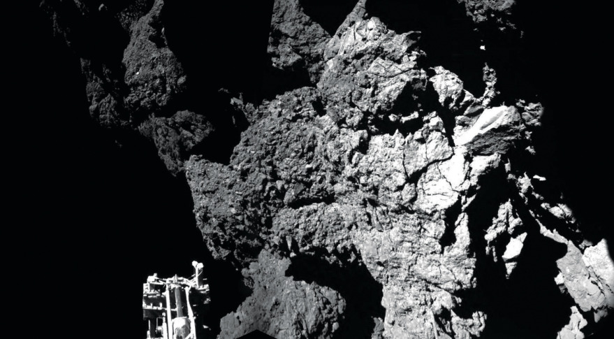 Mosaic of the first two images showing Rosetta's lander Philae safely on the surface of Comet 67P. Credit: ESA/Rosetta/Philae/CIVA