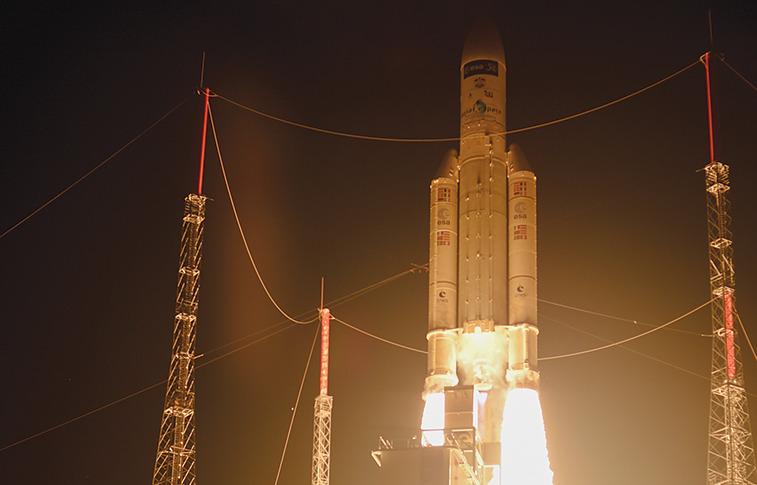 Ariane 5 launches final ATV. Credit: ESA/S. Coravja