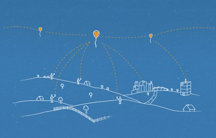 Google says Each balloon can provide connectivity to a ground area about 40 kilometers in diameter using LTE wireless communications technology. Credit: Google Loon
