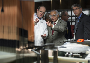 Michael Gazarik, right, joined NASA Administrator Charles Bolden during a Jan. 9 tour of the Bally Ribbon Mills factory in Pennsylvania. Credit: NASA/Bill Ingalls