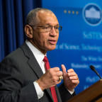 NASA Administrator Charles Bolden speaks during the annual White House State of Science, Technology, Engineering, and Math address  Jan. 21, 2015, at the Eisenhower Executive Office Building on the White House complex in Washington. Credit: NASA/Bill Ingalls