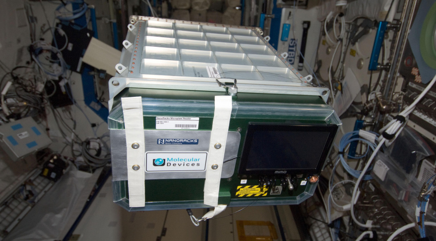 A NanoRacks Plate Reader device aboard the International Space Station in 2013. Credit: Nanoracks