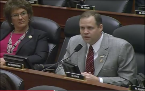 Rep. Jim Bridenstine (R-Okla.) on Jan. 28 questioned Pentagon acquisition czar Frank Kendall about DoD's commitment to using commercial communications satellites. Credit: HASC screenshot.