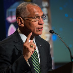 NASA Administrator Charles Bolden delivers opening remarks during a panel discussion on the search for life beyond Earth in the James E. Webb Auditorium at NASA Headquarters on July 14, 2014. Credit: NASA/oel Kowsky