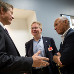 Mayor of Gilbert Arizona John Lewis, left,  Orbital Sciences CEO David Thompson, center, and NASA Administrator Charles Bolden, meet before viewing the Orbiting Carbon Observatory 2 (OCO-2) satellite at Orbital's facility in Gilbert, AZ, August 9, 2013. Credit: NASA/Bill Ingalls