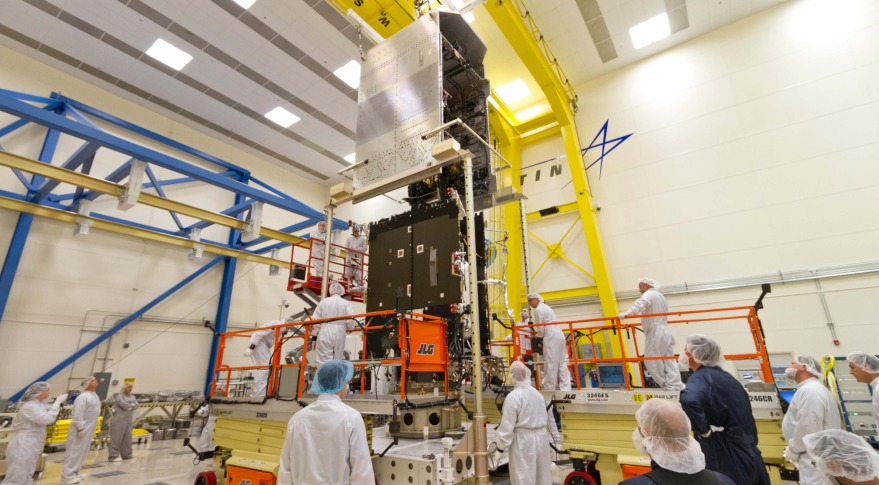 GOES-R series weather satellite at the company's Denver facilities in late 2014. Credit: Lockheed Martin