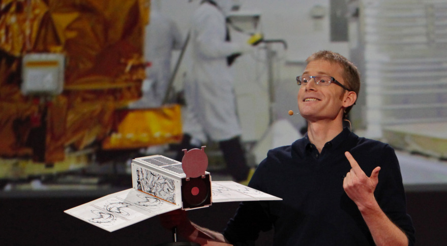 Planet Labs founder and CEO Will Marshall comparing his company's Dove cubesat to a traditional satellite during a TED Talk. Credit: Steve Jurvetson