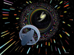 Artist's depiction of a hypothetical Wormhole Induction Propelled Spacecraft. Credit: NASA/ Les Bossinas.