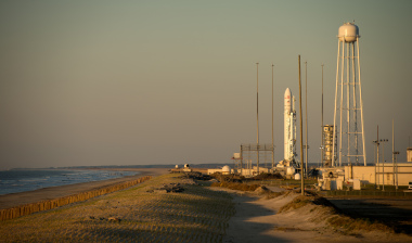 Antares rocket is seen during sunrise on the Mid-Atlantic Regional Spaceport Pad-0A at the NASA Wallops Flight Facility in Virginia, April 21, 2013. Credit: NASA/Bill Ingalls