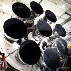 Nine Merlin 1D engines comprise the first stage of the Falcon 9 v1.1 rocket. Credit: SpaceX