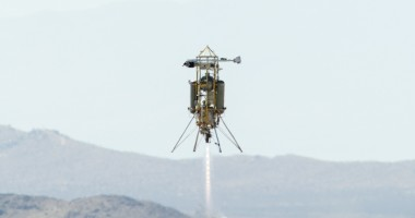 Masten's rocket-powered Xombie technology demonstration vehicle rockets skyward during a flight test of Astrobotic Technology's autonomous landing system. Credit: NASA