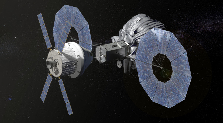 Orion approaching the robotic asteroid capture vehicle