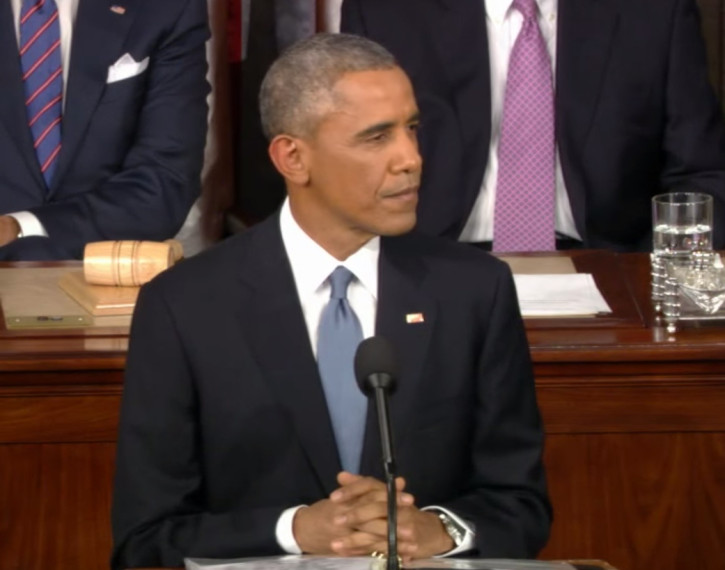 U.S. President Barack Obama delivering the 2015 State of the Union address. Credit: White House video grab