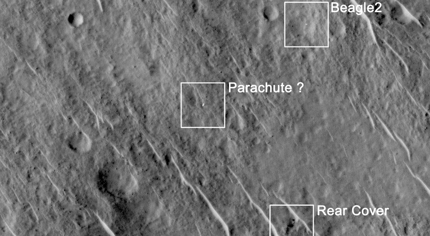 This annotated image shows where features seen in a 2014 observation by NASA's Mars Reconnaissance Orbiter have been interpreted as hardware from the Dec. 25, 2003, arrival at Mars of the United Kingdom's Beagle 2 Lander. Images from the High Resolution Imaging Science Experiment (HiRISE) camera on Mars Reconnaissance Orbiter have been interpreted as showing the Beagle 2 did make a soft landing and at least partially deployed its solar panels taken June 29, 2014. Credit: NASA/JPL-Caltech/Univ. of Arizona/University of Leicester