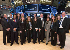 Globalstar executives at the New York Stock Exchange. Credit: Globalstar