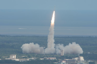 Vega VV04 carrying ESA's experimental spaceplane, IXV, lifted off from Europe's Spaceport in Kourou, French Guiana, Feb. 11. Credit: ESA/S. Corvaja