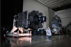 Inmarsat 5 F1 and F2 Global Xpress satellites at Boeing's El Segundo, California-facility. Credit: Inmarsat