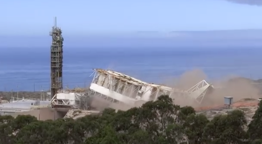 Screen capture from a YouTube video posted in September claiming it shows a SpaceX crew demolishing the launch tower at Vandenberg's Space Launch Complex -4 West. Credit: YouTube/Derrick Stamos