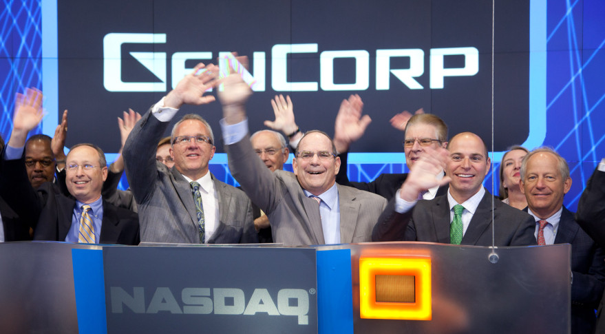 Scott Seymour (center), chief executive of parent company GenCorp, announced he was taking over as president of Aerojet Rocketdyne from Warren M. Boley, Jr., effective immediately. Credit: NASDAQ