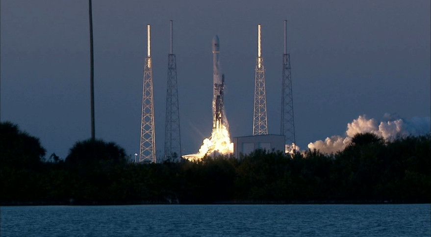 A SpaceX Falcon 9 v1.1 rocket lifts off from Cape Canaveral, Florida, on Feb. 11 carrying the DSCOVR spacecraft. Credit: NASA TV