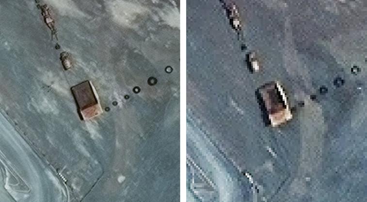 Perbedaan citra resolusi 30cm (kiri) dan resolusi 70cm (kanan) area Pertambangan Kalgoorlie Mine di Australia