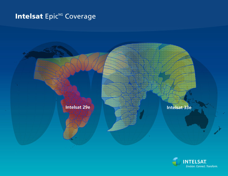 Coverage map for Intelsat's first two EpicNG satellites. Credit: Intelsat