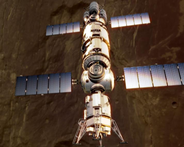 Manned spaceship in Mars orbit