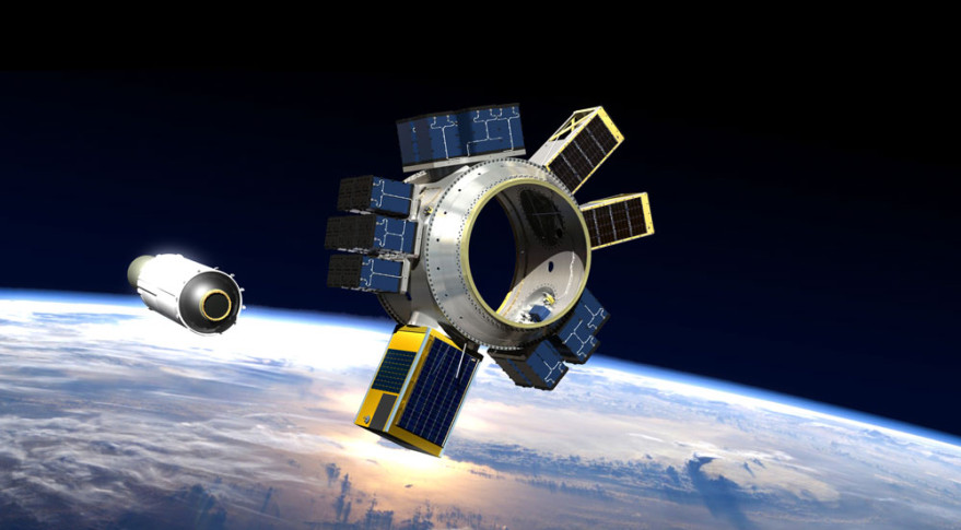 An artist's concept of Spaceflight's Sherpa tug, to launch late this year on SpaceX Falcon 9 from Vandenberg Air Force Base carrying 87 small satellites into low Earth orbit. Credit: Spaceflight Industries illustration.